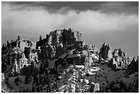 Hoodoos and cliffs in winter, Red Canyon. Utah, USA (black and white)