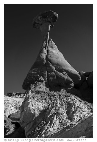 Toadstool Hoodoo. Grand Staircase Escalante National Monument, Utah, USA (black and white)