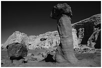 Rock-capped sandstone towers. Grand Staircase Escalante National Monument, Utah, USA ( black and white)