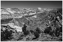Cockscomb Fault along Cottonwood Canyon Road. Grand Staircase Escalante National Monument, Utah, USA ( black and white)