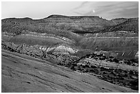 Moonrise over Cockscomb from Yellow Rock. Grand Staircase Escalante National Monument, Utah, USA ( black and white)