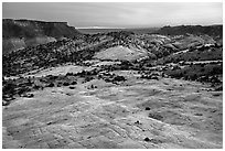 Yellow Rock and Cockscomb, sunset. Grand Staircase Escalante National Monument, Utah, USA ( black and white)