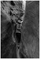 Woman squeezing in Zebra Slot Canyon. Grand Staircase Escalante National Monument, Utah, USA ( black and white)