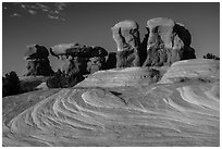 Swirls and hoodoos, Devils Garden. Grand Staircase Escalante National Monument, Utah, USA ( black and white)