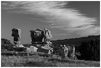 Hoodoos at sunset, Devils Garden. Grand Staircase Escalante National Monument, Utah, USA ( black and white)