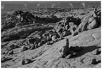 Rocks and slabs on the south slopes of Fortymile Ridge. Grand Staircase Escalante National Monument, Utah, USA ( black and white)