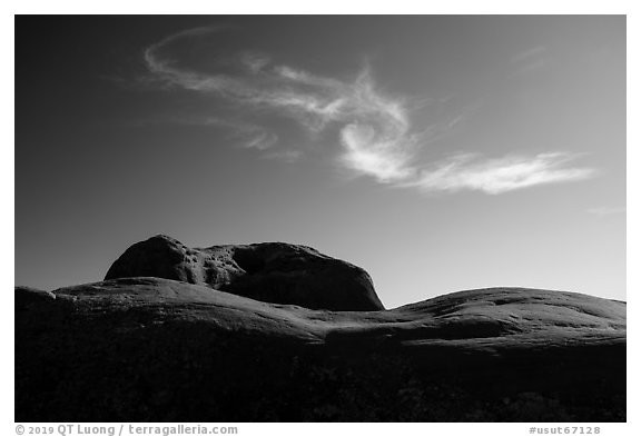 Dance Hall Rock and cloud. Grand Staircase Escalante National Monument, Utah, USA (black and white)
