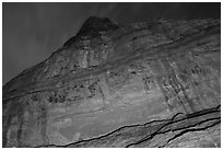 Cliff with Hundred Handprints panel. Grand Staircase Escalante National Monument, Utah, USA ( black and white)