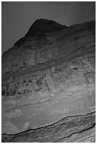 Cliff with Hundred Handprints at night. Grand Staircase Escalante National Monument, Utah, USA ( black and white)