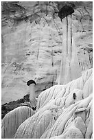 Slender caprock spires and cliff. Grand Staircase Escalante National Monument, Utah, USA ( black and white)