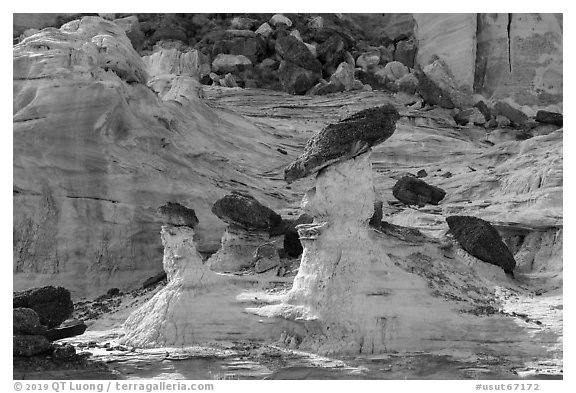 Caprocks, Rocks, and cliffs. Grand Staircase Escalante National Monument, Utah, USA (black and white)