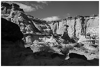 Cliff amphitheater with caprocks, Wahweap Wash. Grand Staircase Escalante National Monument, Utah, USA ( black and white)