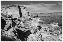 Cliffs and Wahweap Wash. Grand Staircase Escalante National Monument, Utah, USA ( black and white)