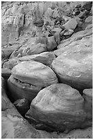 Rounded rocks, Wahweap Wash. Grand Staircase Escalante National Monument, Utah, USA ( black and white)