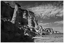 Tall caprock and cliffs bordering Wahweap Wash. Grand Staircase Escalante National Monument, Utah, USA ( black and white)
