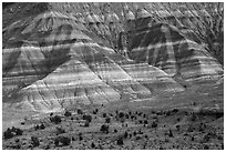 Colorful badlands of Chinle formation, Old Paria. Grand Staircase Escalante National Monument, Utah, USA ( black and white)