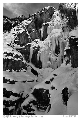 Bridalveil falls frozen in winter. Utah, USA (black and white)