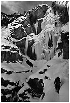 Bridalveil falls frozen in winter. Utah, USA ( black and white)