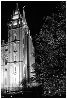 Great Mormon Temple with Christmas lights, Salt Lake City. Utah, USA ( black and white)