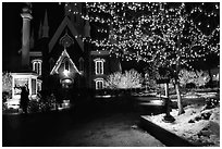 Temple Square with Christmas lights,Salt Lake City. Utah, USA ( black and white)
