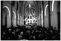 Christmas mass, Cathedral St Joseph. Ho Chi Minh City, Vietnam ( black and white)