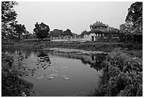 Imperial library and pond, citadel. Hue, Vietnam ( black and white)