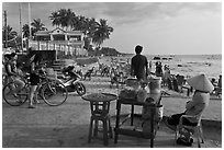 Food vendor,  Long Beach, Duong Dong. Phu Quoc Island, Vietnam (black and white)