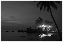 Cau Castle at night. Phu Quoc Island, Vietnam (black and white)