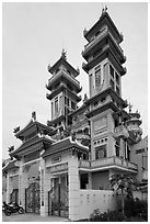 Cao Dai temple, Duong Dong. Phu Quoc Island, Vietnam (black and white)
