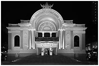 Opera House (Nha Hat Thanh Pho) at night. Ho Chi Minh City, Vietnam ( black and white)