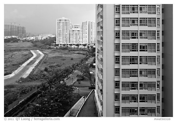 Recent residential high-rise appartment buildings, Phu My Hung, district 7. Ho Chi Minh City, Vietnam (black and white)