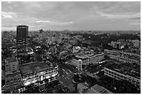 Elevated city view at dusk from Sheraton. Ho Chi Minh City, Vietnam ( black and white)