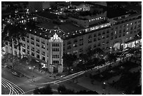 Rex Hotel seen from above, dusk. Ho Chi Minh City, Vietnam ( black and white)