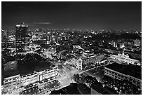 Saigon center at night from above. Ho Chi Minh City, Vietnam ( black and white)