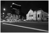 Opera House and Hotel Continental at night. Ho Chi Minh City, Vietnam ( black and white)