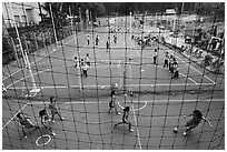 Stadium with girls team athetics, Cong Vien Van Hoa Park. Ho Chi Minh City, Vietnam (black and white)