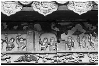 Ceramic scenes from traditional Chinese stories, Quan Am Pagoda. Cholon, District 5, Ho Chi Minh City, Vietnam ( black and white)