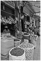 Shops selling traditional medicinal herbs. Cholon, Ho Chi Minh City, Vietnam (black and white)