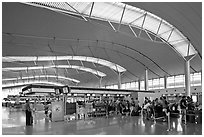 Main concourse, Tan Son Nhat International Airport. Ho Chi Minh City, Vietnam ( black and white)