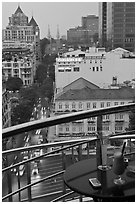 Drinks and view from rooftop bar of Hotel Caravelle. Ho Chi Minh City, Vietnam ( black and white)
