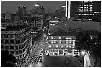 Rooftop view of central Saigon. Ho Chi Minh City, Vietnam ( black and white)