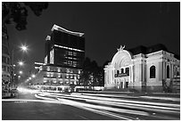 Opera house and streaks from traffic at night. Ho Chi Minh City, Vietnam ( black and white)