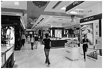 Designer brands in shopping center. Ho Chi Minh City, Vietnam ( black and white)
