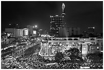 Cityscape with dense rush hour traffic at the intersection of two main boulevards. Ho Chi Minh City, Vietnam ( black and white)