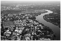 Aerial view of river and urban areas. Ho Chi Minh City, Vietnam ( black and white)