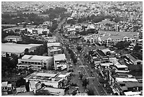 Aerial view of street and houses. Ho Chi Minh City, Vietnam ( black and white)