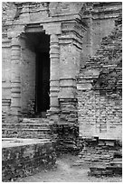 Entrance to sanctuary in Cham Tower. Mui Ne, Vietnam (black and white)