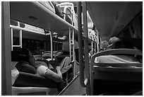 Inside sleeper bus. Vietnam ( black and white)