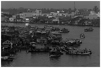 Cai Rang market at dawn. Can Tho, Vietnam (black and white)