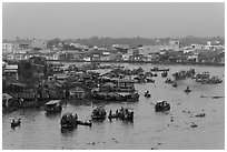 Cai Rang market before sunrise. Can Tho, Vietnam (black and white)